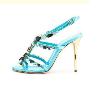 Oscar de la Renta Crystal Embellished Satin Sandal